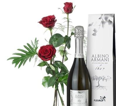 3 Roses rouges avec verdure et prosecco Albino Armani N° 2
