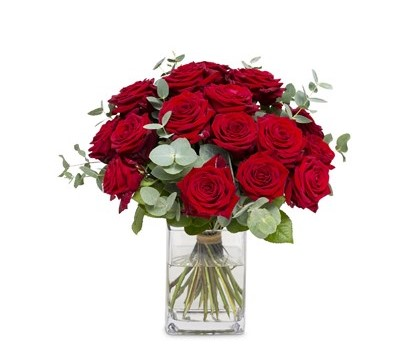Bouquet de 24  roses rouges avec un vase N° 10