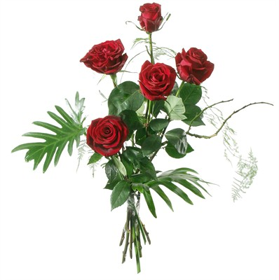 Roses rouges avec verdures N° 2