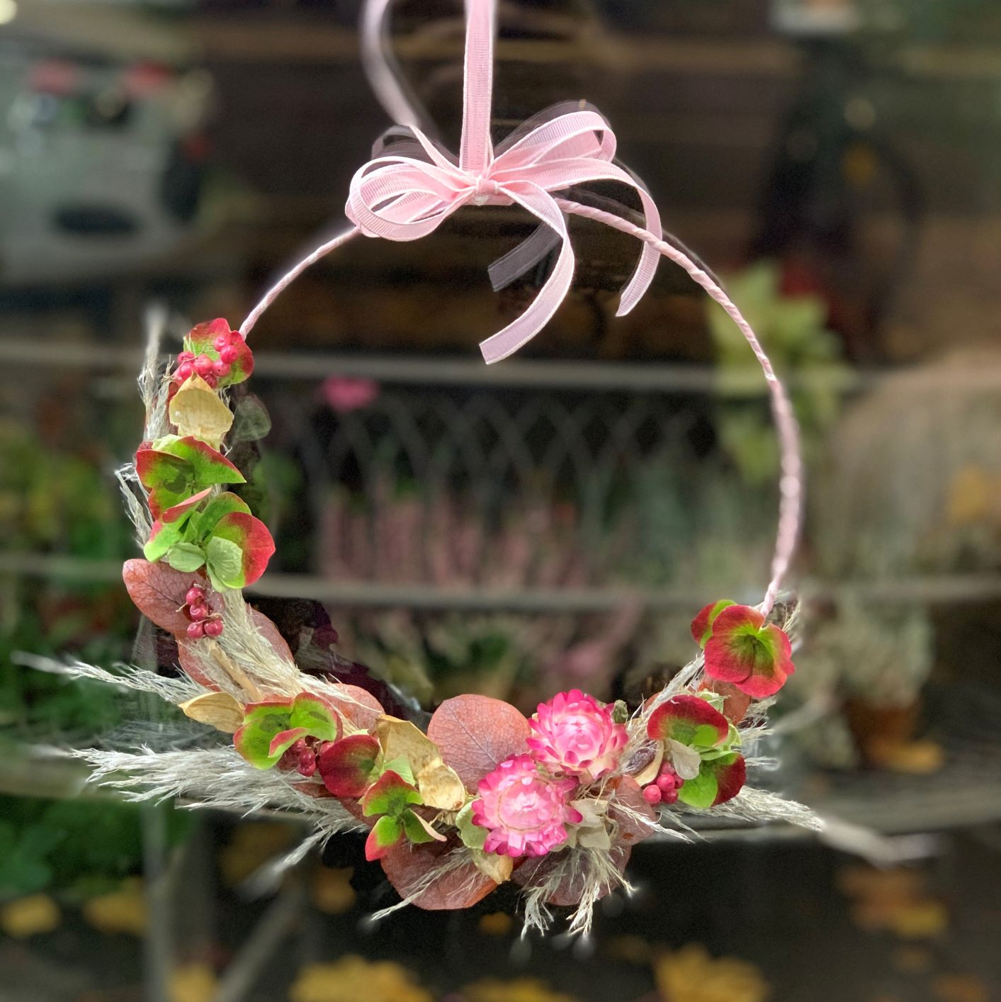 Couronne de fleurs séchées N° 1