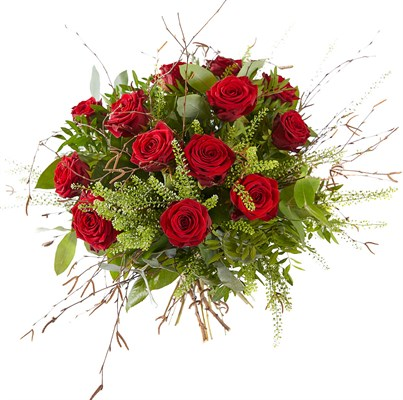 Bouquet de 12 roses rouges et verdure N° 13