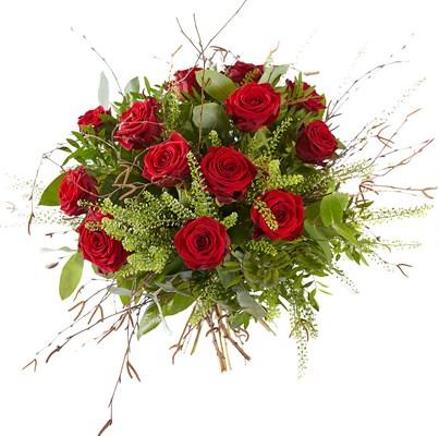 Bouquet de 12 roses rouges et verdure N° 13