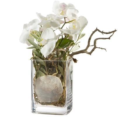 Branches d'orchidées blanches avec vase N° 9