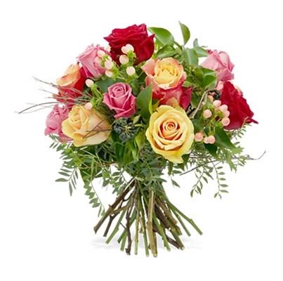 Bouquet de roses mélanges avec verdures N° 15