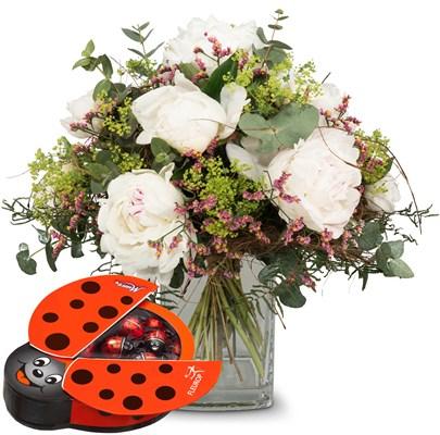 Bouquet de saison pivoines avec coccinelle en chocolat Munz N°2