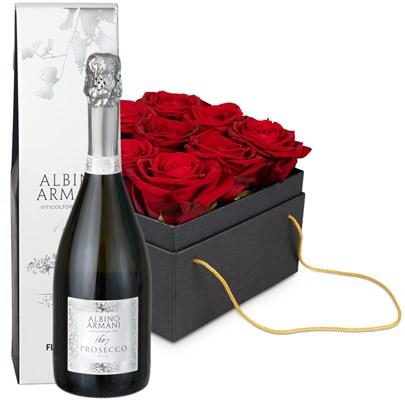 Boîte à fleurs «Paris» (15 cm) avec prosecco Albino Armani DOC Extra Dry (75 cl) N24